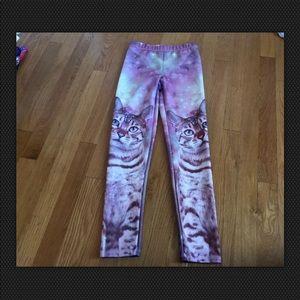 LOL Vintage Girla Pink Cat Leggings Size M